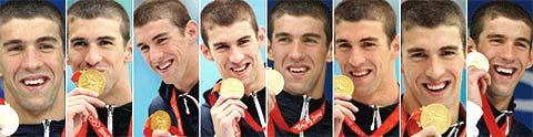 Les 8 médailles d'or de Phelps